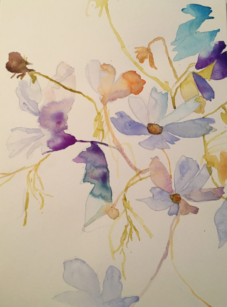 Cosmos Dance Abstract Floral Watercolor Painting by Betsyness Art Studio